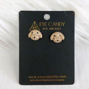 Eye Candy LA Luxe Crystal Puppy Stud Earrings